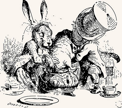 Tea Party Drawing - Dormouse In The Teapot Mad Tea Party by John Tenniel