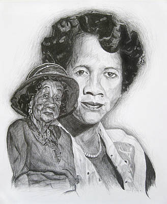 Martin Luther King Drawing - Dorothy Height - Double Portrait by Michael Morgan