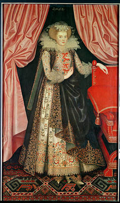 Embroidered Photograph - Dorothy St. John, Lady Cary, C.1614 Oil On Canvas by William Larkin
