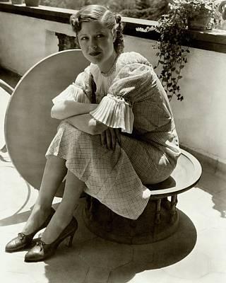 Ruffles Photograph - Dorothy Wilson Wearing A Plaid Dress by Imogen Cunningham