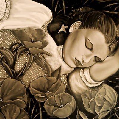 Art Print featuring the painting Dorothy's Sleep Sepia by Cindy Anderson