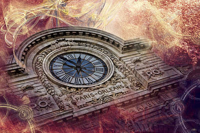 Paris Skyline Royalty-Free and Rights-Managed Images - DOrsay Clock Paris by Evie Carrier