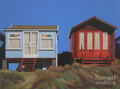 Painting - Dorset Beach Huts by Linda Monk