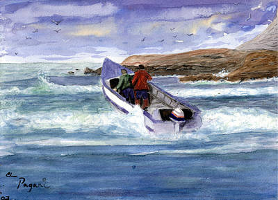 Dory Boat Heading To Sea Art Print