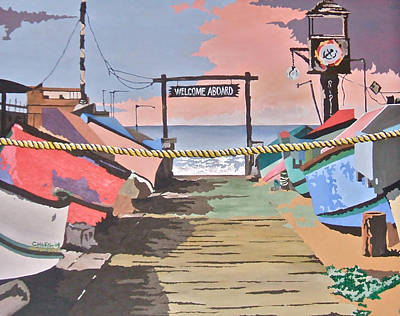 Painting - Dory Fishing Fleet -newport Beach by Carol Tsiatsios