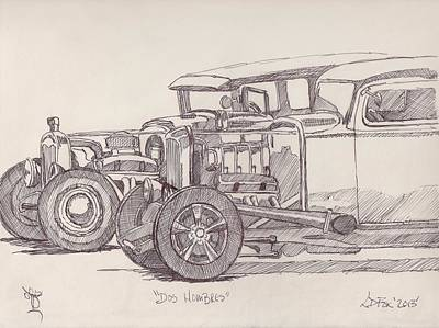 Street Rod Drawing - Dos Hombres by Larry Fox