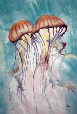 Purple Sea Stars Wall Art - Painting - Dos Jellyfish by Jeff Lucas