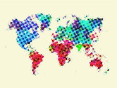 Country Map City Map Painting - Dotted World Map 2 by Naxart Studio