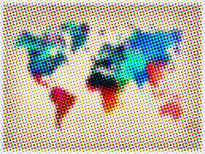 Country Map City Map Painting - Dotted World Map by Naxart Studio