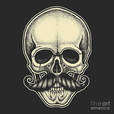 Anatomy Wall Art - Digital Art - Dotwork Styled Skull With Moustache by Mr bachinsky
