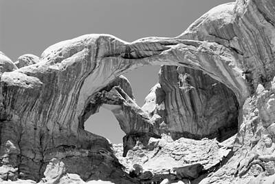 Photograph - Double Arch Arches National Park Bw by Mary Bedy