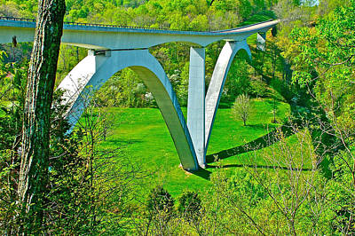 Double-arched Bridge Spanning Birdsong Hollow At Mile 438 Of Natchez Trace Parkway-tennessee Art Print