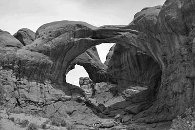 Photograph - Double Arches In Black And White by Bruce Bley