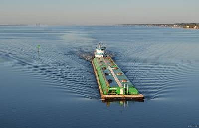 Photograph - Double Barge On Calm Santa Rosa Sound From Navarre Bridge At Sunrise by Jeff at JSJ Photography
