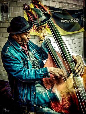 Double Bass. Man Art Print