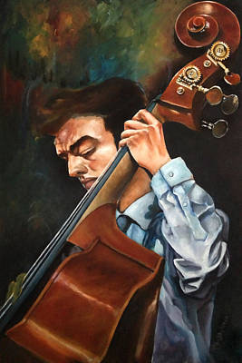 Painting - Double Bass Player by Ka-Son Reeves