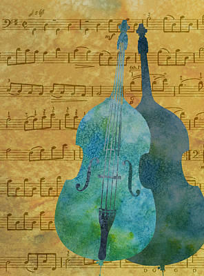Jazz Mixed Media - Double Bass Score by Jenny Armitage