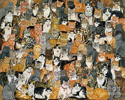 Cats Painting - Double Cat Spread by Ditz