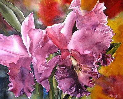Double Cattleya Orchid Art Print by Alfred Ng