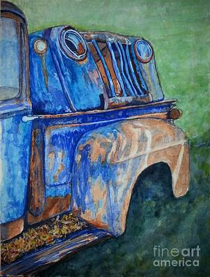 Painting - Double Decaying Ford Pick Ups by DJ Laughlin