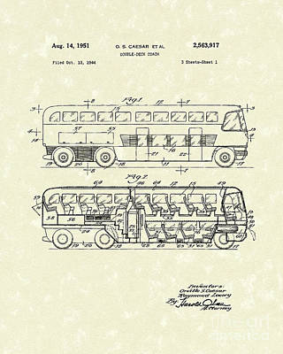 Double Drawing - Double-deck Coach 1951 Patent Art by Prior Art Design