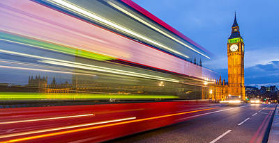 Photograph - Double Decker And Big Ben by Adam Pender