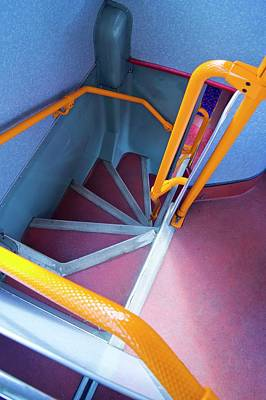 Double Decker Photograph - Double-decker Bus Stairs. by Mark Williamson