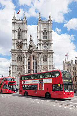 Westminster Abbey Wall Art - Photograph - Double-decker Buses Passing by Panoramic Images