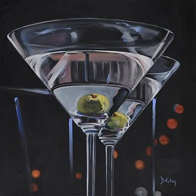 Martini Painting - Double Delight by Donna Tuten
