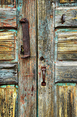 Photograph - Double Door Hardware by Ken Smith