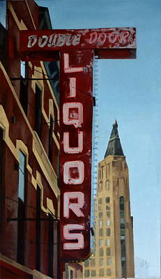 Painting - Double Door Sign Wicker Park Bucktown Chicago by Rick Liebenow