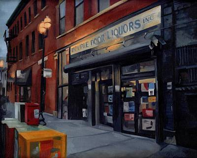 Painting - Double Door Wicker Park Bucktown Chicago by Rick Liebenow