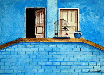 Double Doors With Mynah Bird Original by Christopher Shellhammer