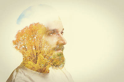 Double Exposure Man With Beard And Fall Art Print by Sdominick