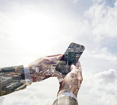 Double Exposure Of Smart Phone And Art Print by Tim Robberts