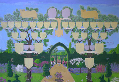 Family Tree Painting - Double Family Tree Chart English Garden  by Alix Mordant