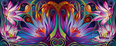 Images Painting - Double Floral Fantasy by Ricardo Chavez-Mendez