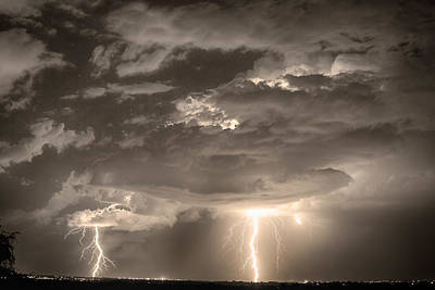 Photograph - Double Lightning Strikes In Sepia Hdr by James BO Insogna