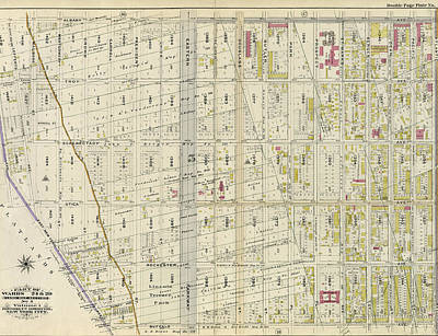 Atlantic Avenue Drawing - Double Page Plate No. 18 Bounded By Albany Avenue by Litz Collection
