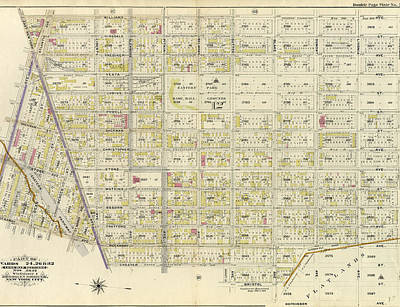 Atlantic Avenue Drawing - Double Page Plate No. 20 Bounded By Williams Avenue by Litz Collection