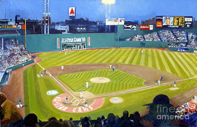 Sports Paintings - Double Play in Fenway by Candace Lovely