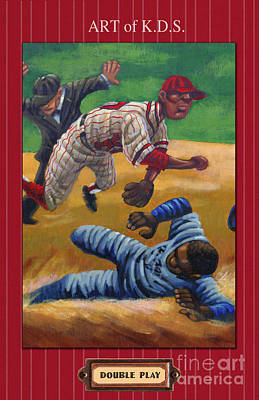 Sports Paintings - Double Play by Keith Shepherd