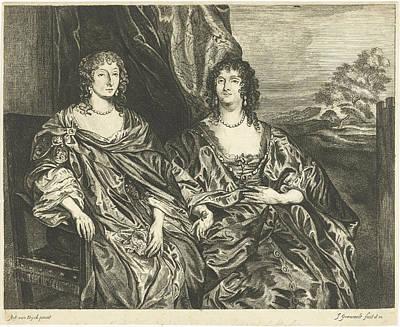 Double Portrait Of Ann Kirke And Anna Dalkeith Art Print by Johannes Gronsveld