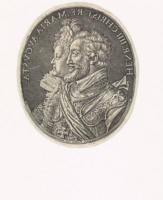Mirror Drawing - Double Portrait Of Henry Iv And Marie De Medici by Simon Van De Passe