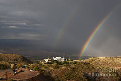 Photograph - Double Rainbow And Jerome State Park by Ron Chilston