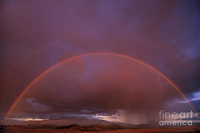 Photograph - Double Rainbow During Clearing Storm Mount Shasta California by Dave Welling