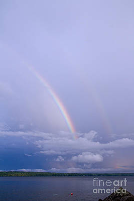 Photograph - Double Rainbow II Sebago Lake Me. by Butch Lombardi