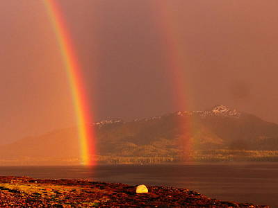 Art Print featuring the photograph Double Rainbow by Karen Horn