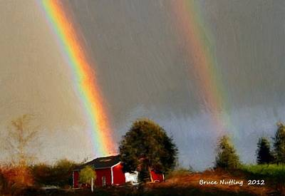 Farm Painting - Double Rainbow On The Farm by Bruce Nutting