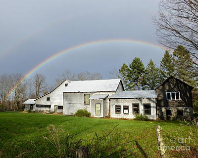 Photograph - Double Rainbow Over Barn by Kristen Fox